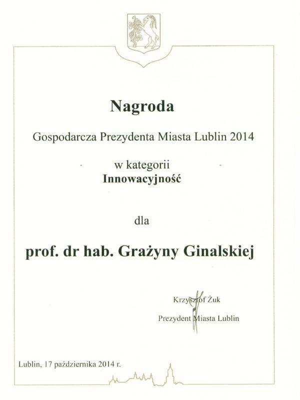 2014-10-17 Nagroda_Gospodarcza_Prezydenta_mLublin_ 2014_Ginalska-page-001